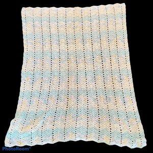 Vintage Granny Crocheted Light Afghan baby blanket